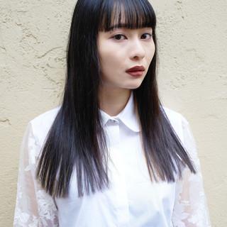 ストレート モード ロング ダブルブリーチ ヘアスタイルや髪型の写真・画像