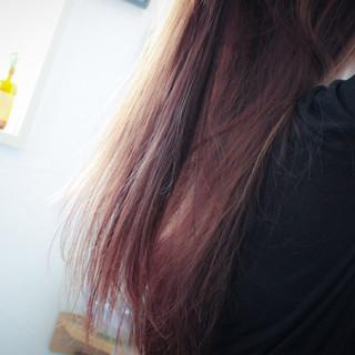 大人女子 ロング フェミニン ピンク ヘアスタイルや髪型の写真・画像