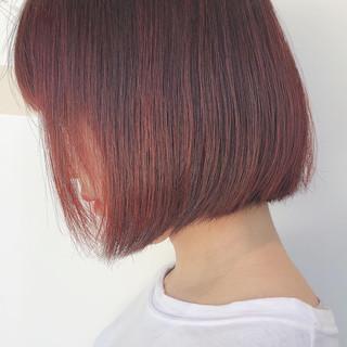 ピンクベージュ チェリーレッド ボブ ラベンダーピンク ヘアスタイルや髪型の写真・画像
