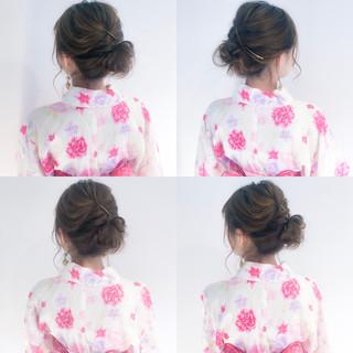 セミロング 簡単ヘアアレンジ デート お祭り ヘアスタイルや髪型の写真・画像