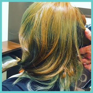 ガーリー 渋谷系 ブルー グリーン ヘアスタイルや髪型の写真・画像