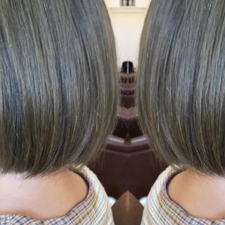 ブリーチオンカラー 切りっぱなしボブ グレージュ ダブルブリーチ ヘアスタイルや髪型の写真・画像