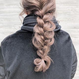 ロング 編みおろし 簡単ヘアアレンジ デート ヘアスタイルや髪型の写真・画像