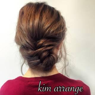 ショート ヘアアレンジ まとめ髪 フェミニン ヘアスタイルや髪型の写真・画像