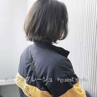 ボブ 前髪 ナチュラル アッシュ ヘアスタイルや髪型の写真・画像
