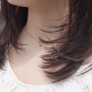 縮毛矯正 フェミニン 黒髪 ナチュラル ヘアスタイルや髪型の写真・画像