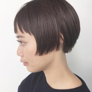 ショート ウェットヘア ショートボブ 前髪あり ヘアスタイルや髪型の写真・画像