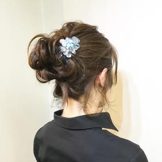 ミディアム お団子 ハーフアップ 大人かわいい ヘアスタイルや髪型の写真・画像