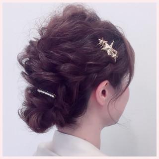 結婚式 ヘアアレンジ ミディアム 三つ編み ヘアスタイルや髪型の写真・画像