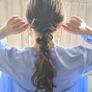 ヘアアレンジ ロング ポニーテール ミルクティーベージュ ヘアスタイルや髪型の写真・画像