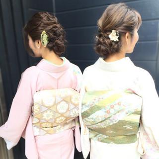 セミロング 着物 アップスタイル エレガント ヘアスタイルや髪型の写真・画像