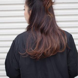 ロング お団子 ヘアアレンジ ハーフアップ ヘアスタイルや髪型の写真・画像
