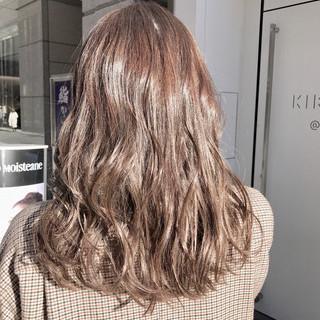 ウェーブ デート 大人かわいい セミロング ヘアスタイルや髪型の写真・画像