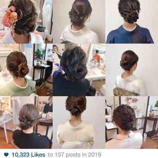 エレガント ミディアム 訪問着 アップスタイル ヘアスタイルや髪型の写真・画像