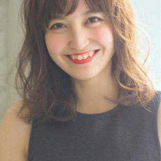 デジタルパーマ アッシュ ミディアム パーマ ヘアスタイルや髪型の写真・画像