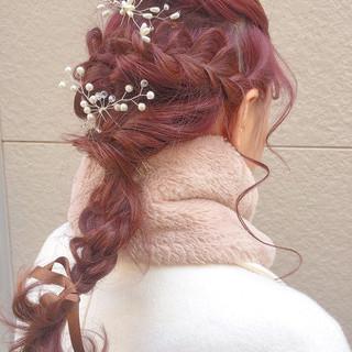 フェミニン ミディアム ラベンダーピンク 結婚式 ヘアスタイルや髪型の写真・画像