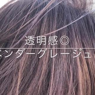 透明感 上品 グレー グレージュ ヘアスタイルや髪型の写真・画像