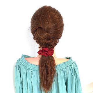 簡単ヘアアレンジ ショート ロング くるりんぱ ヘアスタイルや髪型の写真・画像