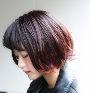ボブ デート グラデーションカラー ショートボブ ヘアスタイルや髪型の写真・画像