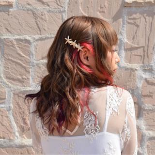 ピンク ハーフアップ 外国人風 ガーリー ヘアスタイルや髪型の写真・画像