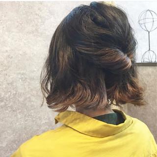 ガーリー 簡単ヘアアレンジ 外ハネ ボブ ヘアスタイルや髪型の写真・画像