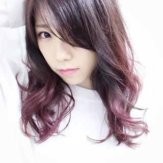 セミロング ダブルカラー ラベンダーピンク グラデーションカラー ヘアスタイルや髪型の写真・画像