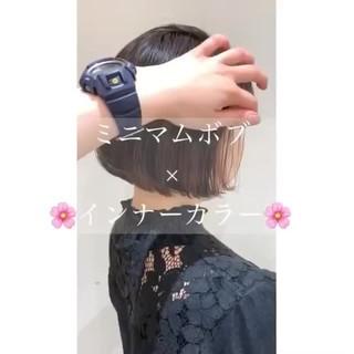 ミニボブ ヘアアレンジ ラベンダーピンク インナーカラー ヘアスタイルや髪型の写真・画像