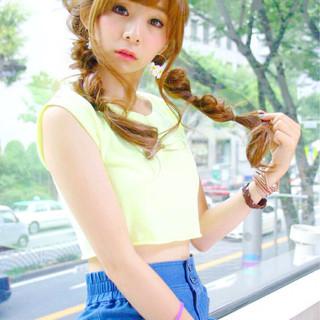 編み込み ヘアアレンジ ロング ツインテール ヘアスタイルや髪型の写真・画像