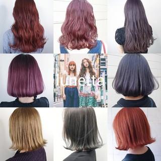 オレンジ ピンク ダブルカラー パープル ヘアスタイルや髪型の写真・画像