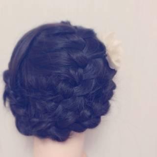 パーティ 裏編み込み 編み込み ヘアアレンジ ヘアスタイルや髪型の写真・画像