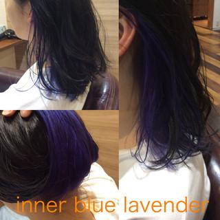 ブルー ナチュラル可愛い ストリート インナーカラー ヘアスタイルや髪型の写真・画像