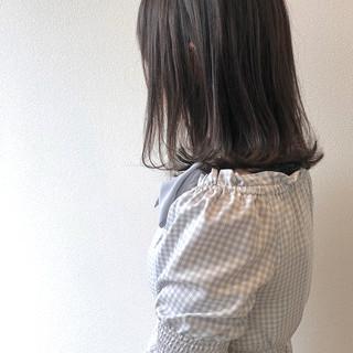 ミディアム ナチュラル ダークカラー 外ハネボブ ヘアスタイルや髪型の写真・画像