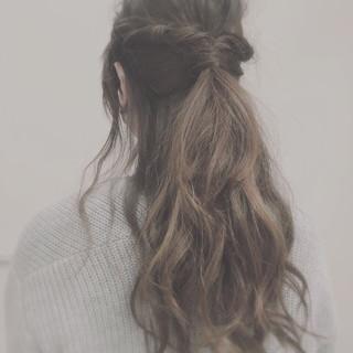 ウェーブ ロープ編み ヘアアレンジ ハーフアップ ヘアスタイルや髪型の写真・画像