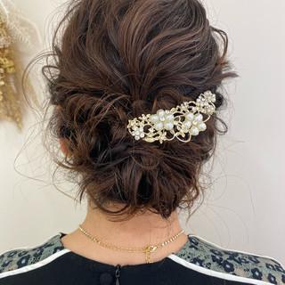 結婚式ヘアアレンジ 簡単ヘアアレンジ エレガント ヘアアレンジ ヘアスタイルや髪型の写真・画像