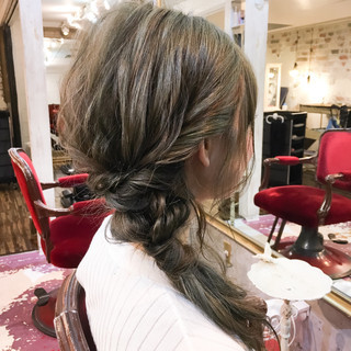 ミディアム 簡単ヘアアレンジ 外国人風 ショート ヘアスタイルや髪型の写真・画像