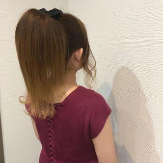 ポニーテール ヘアアレンジ ガーリー セミロング ヘアスタイルや髪型の写真・画像 ヘアスタイルや髪型の写真・画像