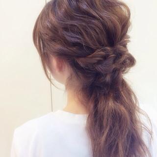 簡単ヘアアレンジ ハーフアップ ロング ロープ編み ヘアスタイルや髪型の写真・画像