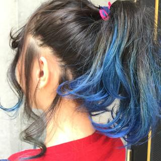 アッシュ ヘアアレンジ グラデーションカラー 夏 ヘアスタイルや髪型の写真・画像