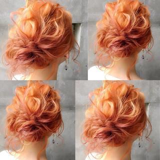 ミディアム 夏 フェミニン 簡単ヘアアレンジ ヘアスタイルや髪型の写真・画像