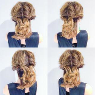 ヘアアレンジ ボブ フェミニン デート ヘアスタイルや髪型の写真・画像