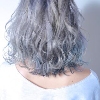 透明感 ユニコーンカラー ブリーチ ミディアム ヘアスタイルや髪型の写真・画像