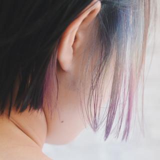 インナーカラー デート フェミニン ボブ ヘアスタイルや髪型の写真・画像