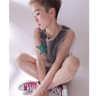 ショート ハイライト 大人女子 モード ヘアスタイルや髪型の写真・画像