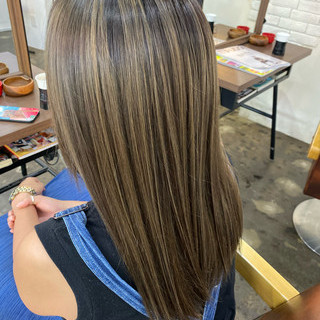 ハイライト 外国人風カラー コントラストハイライト サーフスタイル ヘアスタイルや髪型の写真・画像