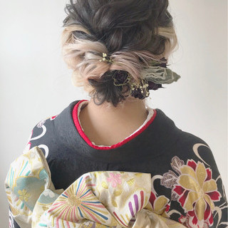 ボブ ガーリー ヘアアレンジ アップスタイル ヘアスタイルや髪型の写真・画像