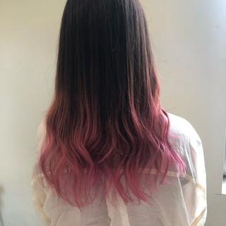 グラデーションカラー セミロング エレガント ピンクベージュ ヘアスタイルや髪型の写真・画像