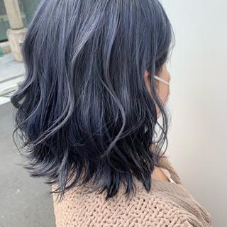 ボブ ブルージュ ブルー ネイビーアッシュ ヘアスタイルや髪型の写真・画像
