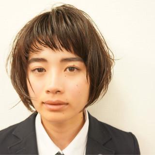 ウェットヘア ボブ ナチュラル ベビーバング ヘアスタイルや髪型の写真・画像