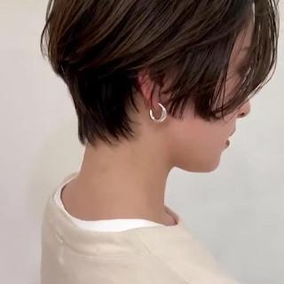 ハンサムショート グラデーションカラー アッシュ ショート ヘアスタイルや髪型の写真・画像
