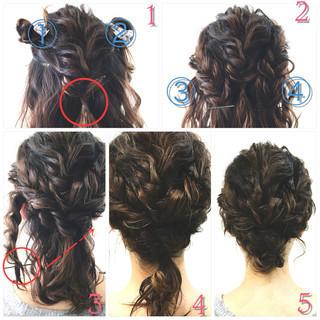 お団子 三つ編み ローポニーテール ヘアアレンジ ヘアスタイルや髪型の写真・画像